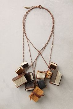 Oh. My. Goodness...Leather book necklaces.
