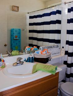Beach themed kids bathroom. All things purchased from Target and Kohls. Mix match. It flows!!