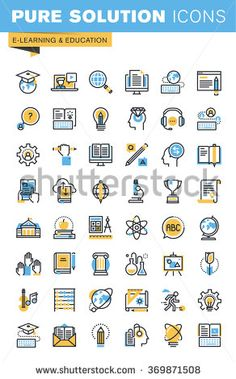 Set of thin line flat design icons of e-learning and education. Icons for websites, mobile websites and apps, easy to use and highly customizable. Flat Design Icons, Web Design, Icon Design, Graphic Design, Graphic Art, Website Icons, School Icon, Education Icon, Learning Logo