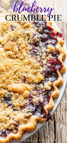 Blueberry Crumble Pie Blueberry Crumble Pie, Blueberry Pie Recipes, Blueberry Topping, Homemade Blueberry Pie, Blueberry Chocolate, Blueberry Desserts, Chocolate Pudding, Desserts With Blueberries, Hot Chocolate