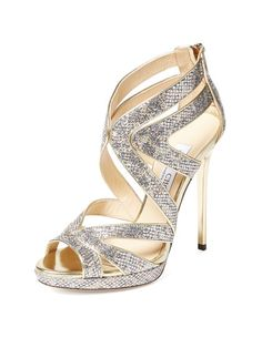 Collar Glitter Leather Strappy Sandal by Jimmy Choo at Gilt