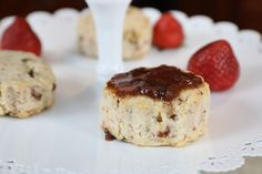 These scrumptious Strawberry Scones are excellent with dessert or as a snack. Satisfying to the stomach and dainty with tea. Tea Time Magazine, Strawberry Scones, Thing 1, Pastry Blender, Summer Desserts, Raspberry, Cheesecake, Snacks, Kitchens