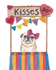 Pug Watercolor Kissing Booth PRINT  11x14 Print by WaterInMyPaint