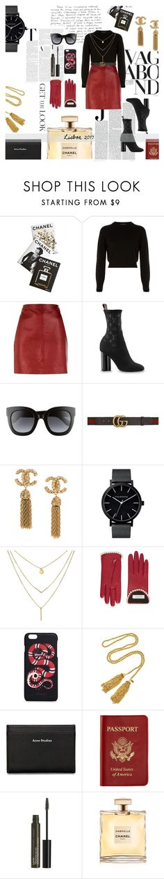 """#outfitsfortravel #Lisbon #Portugal"" by lizzietedford ❤ liked on Polyvore featuring Vagabond, Assouline Publishing, Helmut Lang, Vanity Fair, Sandro, Gucci, Kenneth Jay Lane, Acne Studios, Passport and NYX"