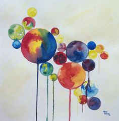 Balloon Worlds Original Abstract Watercolor by sweetteadesigns, $34.00
