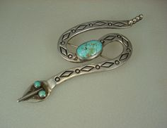 Turquoise Soul . . . BIG VINTAGE Federico Jimenez STAMPED STERLING SILVER & TURQUOISE RATTLESNAKE PIN