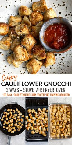 Learn How to Cook Cauliflower Gnocchi from frozen in 3 delicious ways with this easy tutorial! You can use the stove, the oven or the Air Fryer to cook up perfectly crispy and fluffy cauliflower gnocchi that's vegan, gluten-free, grain-free and paleo-friendly! So delicious and the best side that's ready in less than 30 minutes with tips and tricks on everything you need to know to cook perfect crispy and fluffy cauliflower gnocchi! Freezer-friendly and great for Sunday meal prep! Vegetarian Recipes Easy, Delicious Dinner Recipes, Veggie Recipes, Yummy Recipes, Keto Recipes, Bhg Recipes, Whole 30 Recipes, Side Dish Recipes, How To Cook Cauliflower