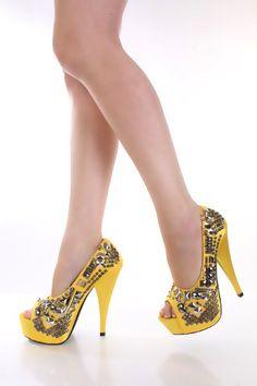 Yellow Studded Decor Peeptoe Platform Heels @ Amiclubwear Heel Shoes online store sales:Stiletto Heel Shoes,High Heel Pumps,Womens High Heel Shoes,Prom Shoes,Summer Shoes,Spring Shoes,Spool Heel,Womens Dress Shoes,Prom Heels,Prom Pumps,High Heel Sandals,C oN sale only $8.00