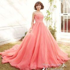 ウェディングドレスショップ シンデレラ:キャンディーピンクのエアリーカラードレス♪SS9590CP