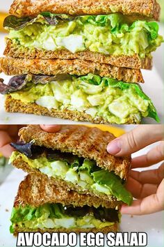This Avocado Egg Salad is creamy, delicious, and easy to make. You'll love this healthy and flavorful egg salad for a meal or as a quick snack. Salad Recipes Healthy Lunch, Healthy Sandwiches, Avocado Recipes, Healthy Breakfast Recipes, Brunch Recipes, Healthy Snacks, Vegetarian Recipes, Healthy Eating, Cooking Recipes