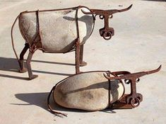 Cow metal garden art
