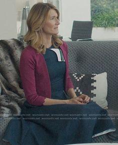 Renata's navy stripe detail dress on Big Little Lies Big Little Lies, Norma Kamali, Tea Length Dresses, Chiffon Ruffle, Other Outfits, Navy Stripes, Poplin, Calvin Klein, How To Wear