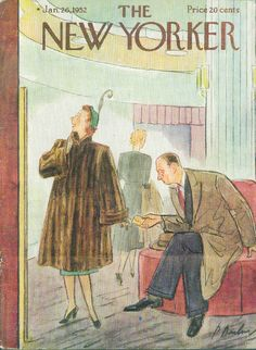 New Yorker cover Perry Barlow mink coat price label shock 1/26 1952