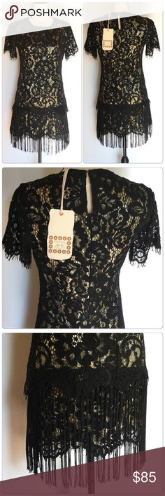 Gorgeous Black and gold lace dress What a beautiful dress have a beautiful design and classic style perfect for night out or special season!                                                                                                                                                          ✅Price is firm unless bundle                                                                                                                             ❌NO TRADES. ❌NO LOWBALL OFFERS Chelsea & Violet…