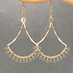 Kashmir 12 Tiny loops wrapped around hammered fan shape earrings