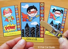 Punch cards for behavior management, skill proficiency, homework completion, goal achievement or anything else you can think of. By Pink Cat Studio Superhero Classroom Theme, Superhero Room, Future Classroom, School Classroom, Classroom Themes, Classroom Activities, School Fun, Preschool Ideas, Classroom Displays
