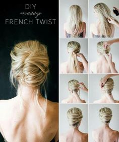 DIY French Twist hair bow beauty long hair updo how to diy hair hair tutorial…