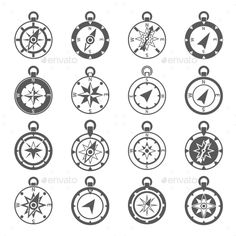Buy Compass Icon Set by macrovector on GraphicRiver. Compass world discovery travel exploration equipment icon black set isolated vector illustration. Editable EPS and Re. Clock Face Tattoo, Free Vector Art, Vector Graphics, Latitude And Longitude Map, Wind World, World Discovery, Compass Vector, Compass Icon, Envelope Art