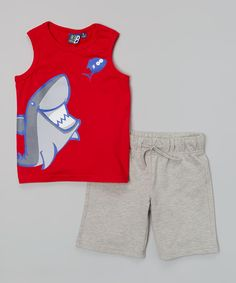 Another great find on #zulily! Red Shark Tank & Gray Shorts - Toddler & Boys by Blanc de Blanc #zulilyfinds. $17.99