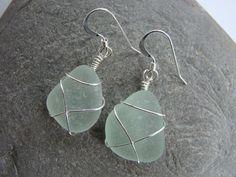 Seafoam Sea Glass Earrings Wire Wrapped by createdbydenise