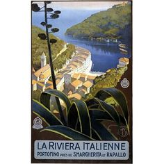 """Italian Riviera, """"La Riviera Italienne Portofino Pres De S. Margherita Et Rapallo.""""  Old travel poster shows an image of whitewashed buildings on the riviera in Italy from an overlooking ridge.  Matte Finish Paper Size: 18"""" x 24"""", Viewable Image Size:  14.1"""" x 22.6"""" Paper Size: 24"""" x 36"""", Viewable Image Size:  21.6"""" x 34.6"""" Paper Size: 36"""" x 54"""", Viewable Image Size:  32.8"""" x 52.6"""" — Passport Goods"""