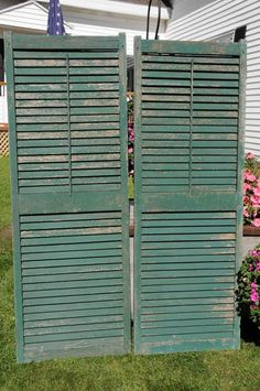 Vintage Antique Old Wooden Window Sash Shutters Shabby Architectural Wood this would be perfect to transform into a desk Wooden Window Shutters, Old Shutters, Wooden Windows, Antique Windows, Door Trims, Sash Windows, Architectural Salvage, Vintage Antiques, Shabby