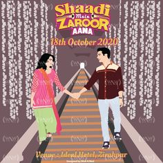 Shaadi Mein Zaroor Aana 👰🤵 A beautiful & quirky invite for the BOLLYWOOD FANS who are soon getting married. 🥰 Get your favourite Bollywood movie posters incorporated in your wedding invites. . . For orders 👇 WhatsApp: +919878949765 +918699033138 📧: hello@wishnwed.com Website: www.wishnwed.com @rajkumarraofficial @kriti.kharbanda . #wishnwed #wishnwedinvites #whatsappweddinginvite #whatsappweddinginvitation #indianweddinginvitations #digitalinvitations #digitalinvite Desi Wedding Decor, Wedding Decorations, Bollywood Theme, Indian Wedding Invitations, Digital Invitations, Getting Married, Wish, Kriti Kharbanda, Fans
