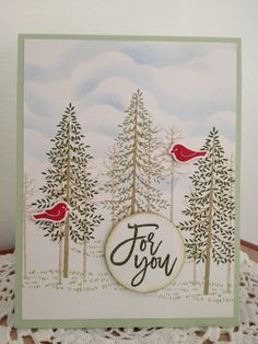 handmade card ... Thoughtful Branches in a wintery forest scene ... luv the depth ... great sponging technique for background clouds ...  Stampin' Up!