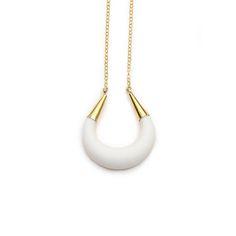 Bianco gioielli di porcellana collana mezzaluna moderna