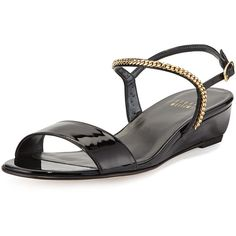 Stuart Weitzman Sweeper Chain Demi-Wedge Sandal ($219) ❤ liked on Polyvore featuring shoes, sandals, black, ankle wrap sandals, evening sandals, strappy flats, evening bridal shoes and flat shoes