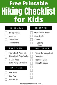Be Ready to Hike with a Hiking Checklist for kids. A Free printable checklist to get you organized for family hikes. Plus find clever tips to make your day of hiking stress-free and fun. Everything you need to be ready for a great family day out! Hiking Checklist, Kids Checklist, Wisconsin Vacation, Wisconsin Dells, Best Hiking Gear, Hiking Tips, Arizona Trip, Arizona Travel, Massanutten Resort