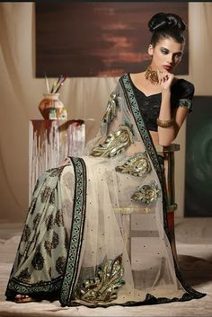 Beige Net Embroidered Wedding Saree by Indian Sarees