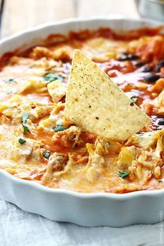 Cheesy chicken enchilada dip - an easy and tasty family favorite appetizer or side dish!