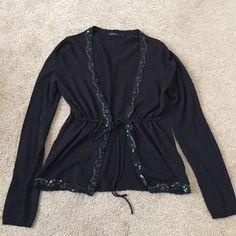 Daisy Fuentes sequined trim tie front cardigan Used Black Daisy Fuentes Sequined Trim Tie Front Long Sleeve Knit Cardigan Daisy Fuentes Sweaters Cardigans