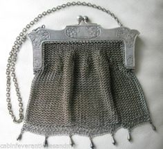 Antique Art Nouveau Floral Lattice G Silver Ball Tassel Chain Mail Mesh Purse