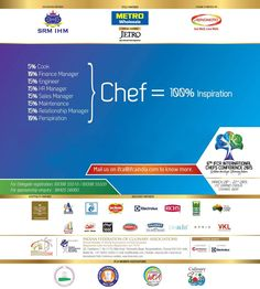 Chef - the Captain of the Kitchen.  Adding on to creating and presenting beautiful dishes, a chef shoulders the responsibility of planning the menus to managing the entire catering establishment. #chefs #cook #recipes #ITC #Chennai #foodart #chefsart #finedining #chefsmeet #conference #culinary #chefstalk #kitchen #professionals #restaurants #foodculture #foodfest #IFCA2015