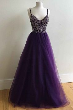 Purple tulle v-neck A-line long prom dress with straps evening dresses