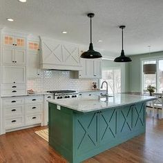 white kitchen cabinets with antique bronze hardware | Beautiful kitchen features white beadboard cabinets accented with oil ...