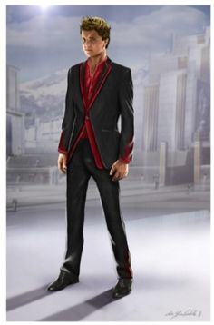 "Concept art for Peeta Mellark in interview suit from  ""The Hunger Games"" (2012) by Christian Cordella."