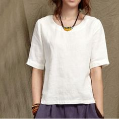 Half sleeve women summer linen shirt linen blouse top oversizeThis dress is made of cotton, linen fabric, soft and breathy, suitable for summer, so loose dresses to make you comfortable all the time.Measurement:  Size S Bust 90cm / 35.1