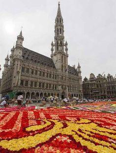 Bruselas crea la tradicional alfombra floral