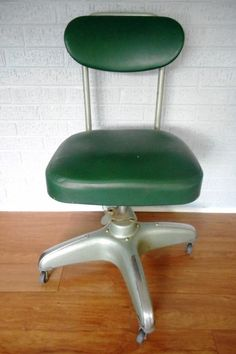 Green Leather & Steel Office Chair by Hamilton