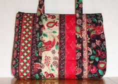 Black Red Green Cream Paisley Stripe Print Quilted by RoxannasBags