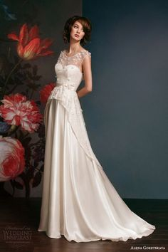 alena goretskaya 2014 bridal sleeveless peplum wedding dress glafira