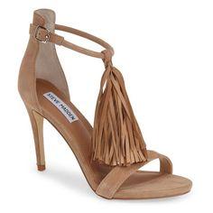 "Steve Madden 'Sashi' Fringe Sandal, 4"" heel ($130) ❤ liked on Polyvore featuring shoes, sandals, heels, sapatos, taupe suede, steve madden sandals, ankle strap shoes, fringe sandals, high heel shoes and high heel sandals"