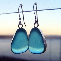 Turquoise Sea Glass Drops