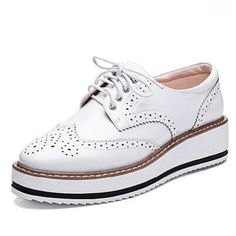 New Womens Winged Oxford Lace Up Striped Platform Metallic Silver Black Fashion Vintage Platform Bullock Flat Female Shoes