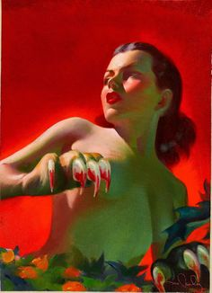 Amazing Stories Magazine cover, October 1949 #Pulp #Cover #Art #Jungle #Woman #Vintage