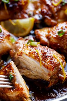 Turn into a stir fry when using chicken breast. Double sauce for that. Breasts only need about 25 minutes in oven  Honey Lemon Garlic Chicken   http://cafedelites.com