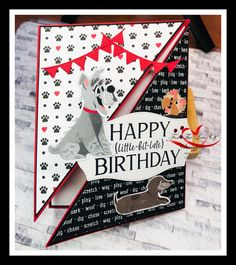 Created by Tracie St-Louis For The Love Of Stamping Playful Pets Bundle (Item no. 154136), Tasteful Touches dies (Item no. 152886), Happiest of Birthday stamp (Item no. 152539) Fun Fold Cards, Folded Cards, Belated Birthday, Birthday Cards, Dog Cards, Punch Art, St Louis, Fur Babies, Stamping